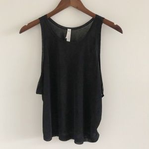 Free People Life's A Wave Black Muscle Tank Med